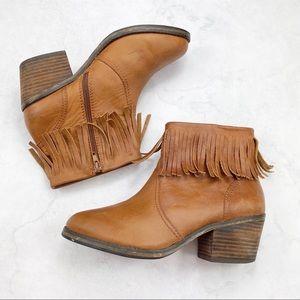 [Shoemint] Western Boho Fringe Ankle Booties